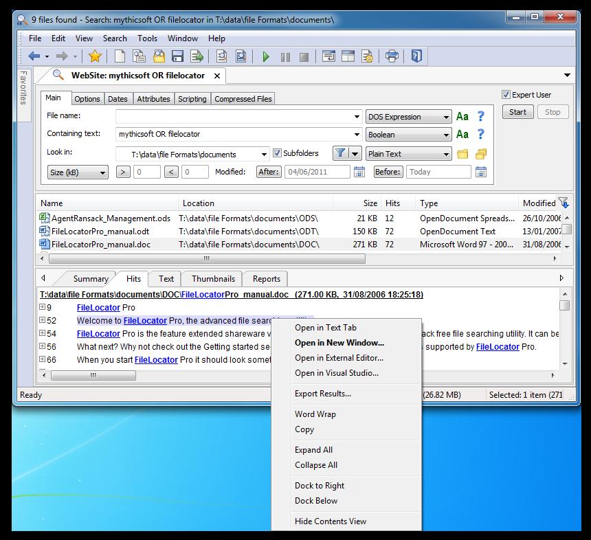 FileLocator Pro full screenshot